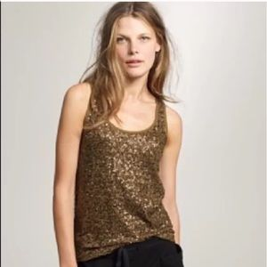 EUC J Crew Olive Green Sequined Tank